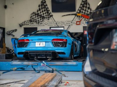SMSTuned Mexico Blue Audi R8 V10 with Eurowise Race Exhaust installation