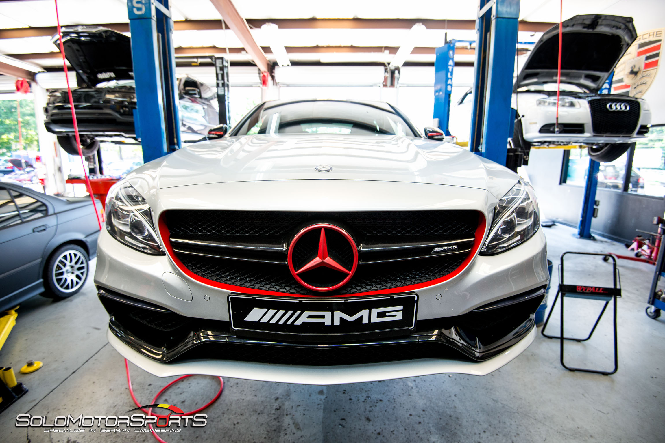 c63 amg downpipe and brake job