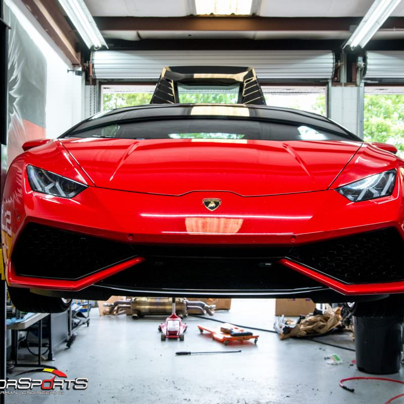 Lamborghini Huracan checked in to get custom exhaust installed. Solo motorsports custom exhaust specialists.