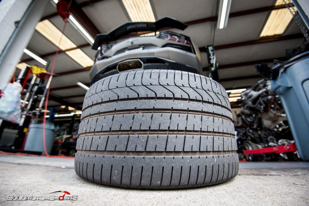 Lamborghini Aventador in for ECU Tune, carbon fiber wing install and exhaust install.