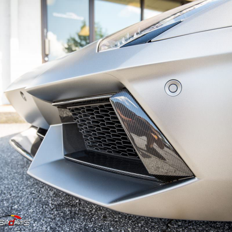 Lamborghini Aventador in for ECU Tune, carbon fiber wing install and exhaust install.