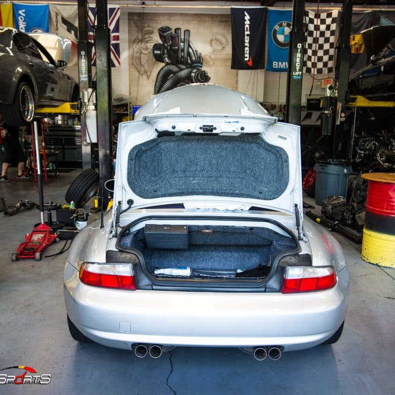 bmw z3 m roadster checked in for vanos rebuild maintenance valve cover belt tensioner filter oil change low mileage z3 m roadster rare s54 2001 2002 solo motorsports one stop shop oil change valve cover gasket belt tensioner water pump thermostat