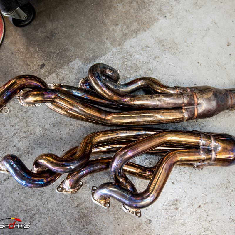 bmw e60 m5 came in for header installation on v10 engine at solo motorsports atlanta georgia