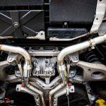 Porsche Panamera 4S in for custom exhaust installation by solo motorsports atlanta ga