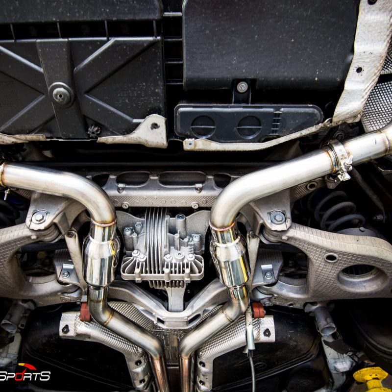 Porsche Panamera 4S in for custom exhaust installation by solo motorsports atlanta ga
