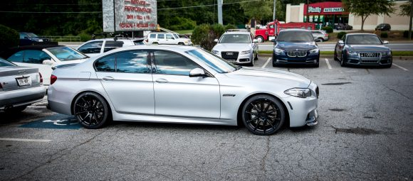 bmw 550i in for new wheels and tires balance road force quality work rims tires v8 twinturbo atlanta solo motorsports