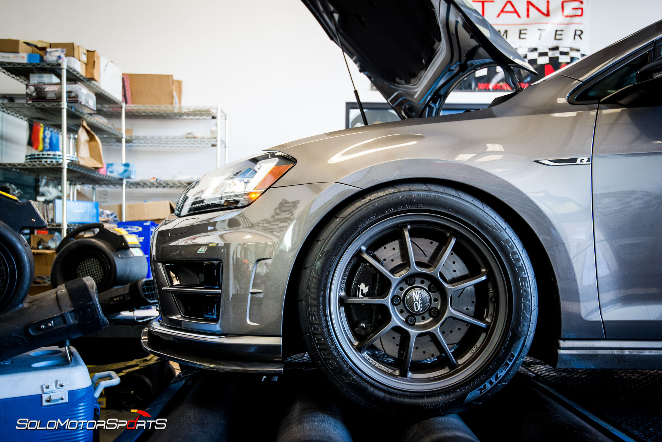 Mk7 Volkswagen Golf R Stage 3 plus in for dyno runs and electric exhaust cutouts.