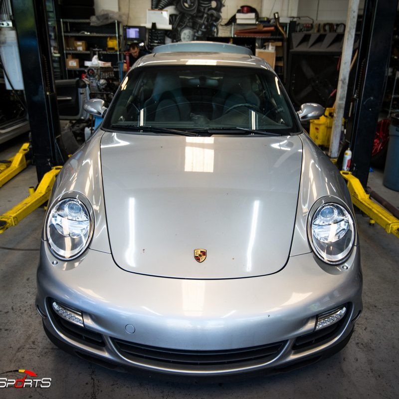 porsche 997 911 turbo in for maintenance and service gaskets seals waterpump service atlantaporsche technicians turbo