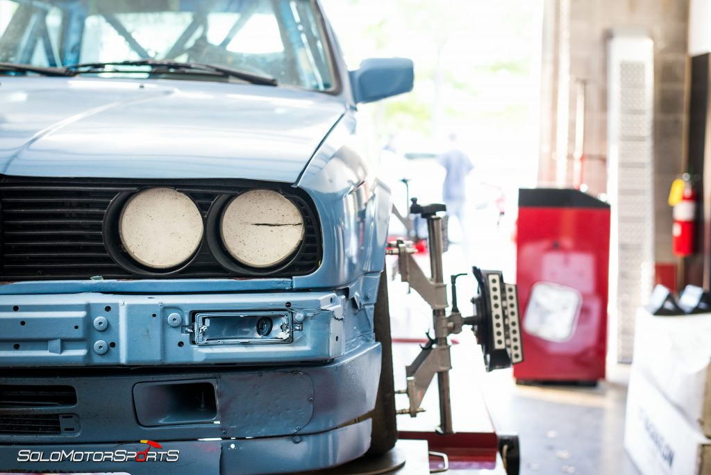 BMW E30-Spec Racecar in for Race Alignment
