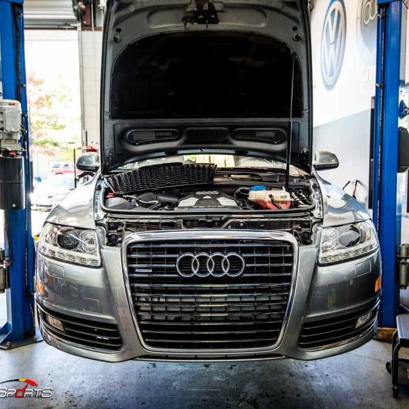 audi a6 avant 3.2 supercharged in for maintenance h&r coil overs wheels and tires and rs6 grille at solomotorsports one stop shop audi specialists