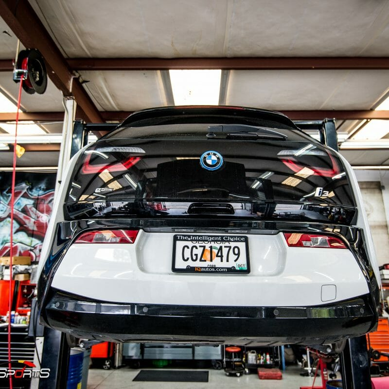 bmw i3 electric in for maintenance new tires balance allignment battery poweres bmw instant torque specialists onestopshop solo motorsports