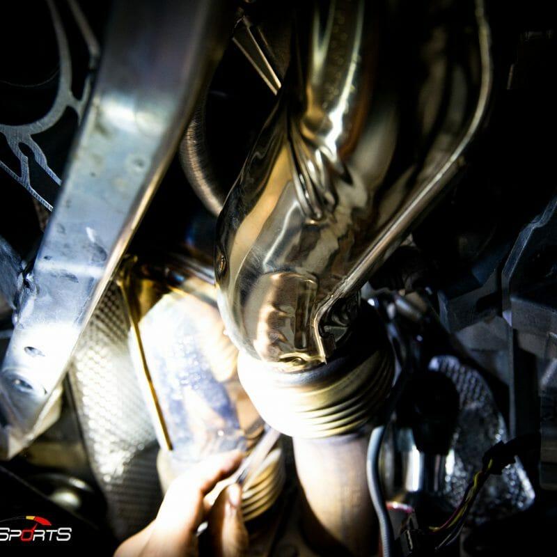 bmw f82 m4 downpipe install maintenance powergains bbs lm black m perfomance solo motorsports shop