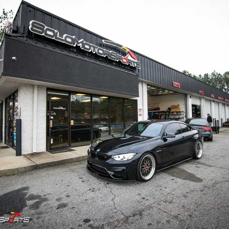 bmw f82 m4 downpipe install maintenance powergains bbs lm black m perfomance solo motorsports shop