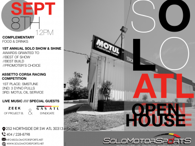 Save the Date! Solo Motorsports Atlanta Open House: September 8th